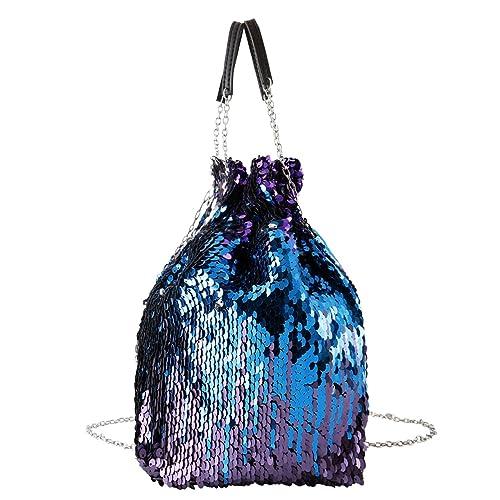 8e8e3ca80ad0d CHIC DIARY Beutel Damen Handtasche Umhängetasche Schultertasche Eimer Tasche  Partytasche Pailletten Sequin PU Leder Glitzer mit