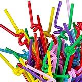 TININNA Flexizone Bunt Kunststoff Trinkhalme Strohhalme mit Knoten 400 Stück
