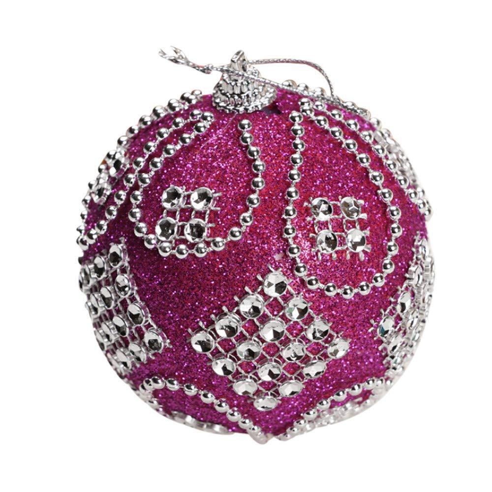 Jeeke Rhinestone Glitter Christmas Balls Christmas Tree Decoration So Shiny Christmas Ornaments (Hot Pink, 1 Pcs)