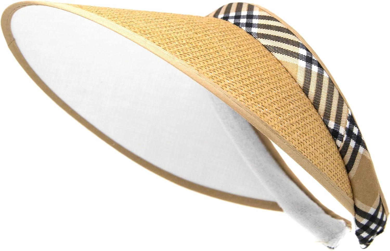 Womens Sport Visor Cap Plaid Pattern Sun Hat Beach Outdoor Summer