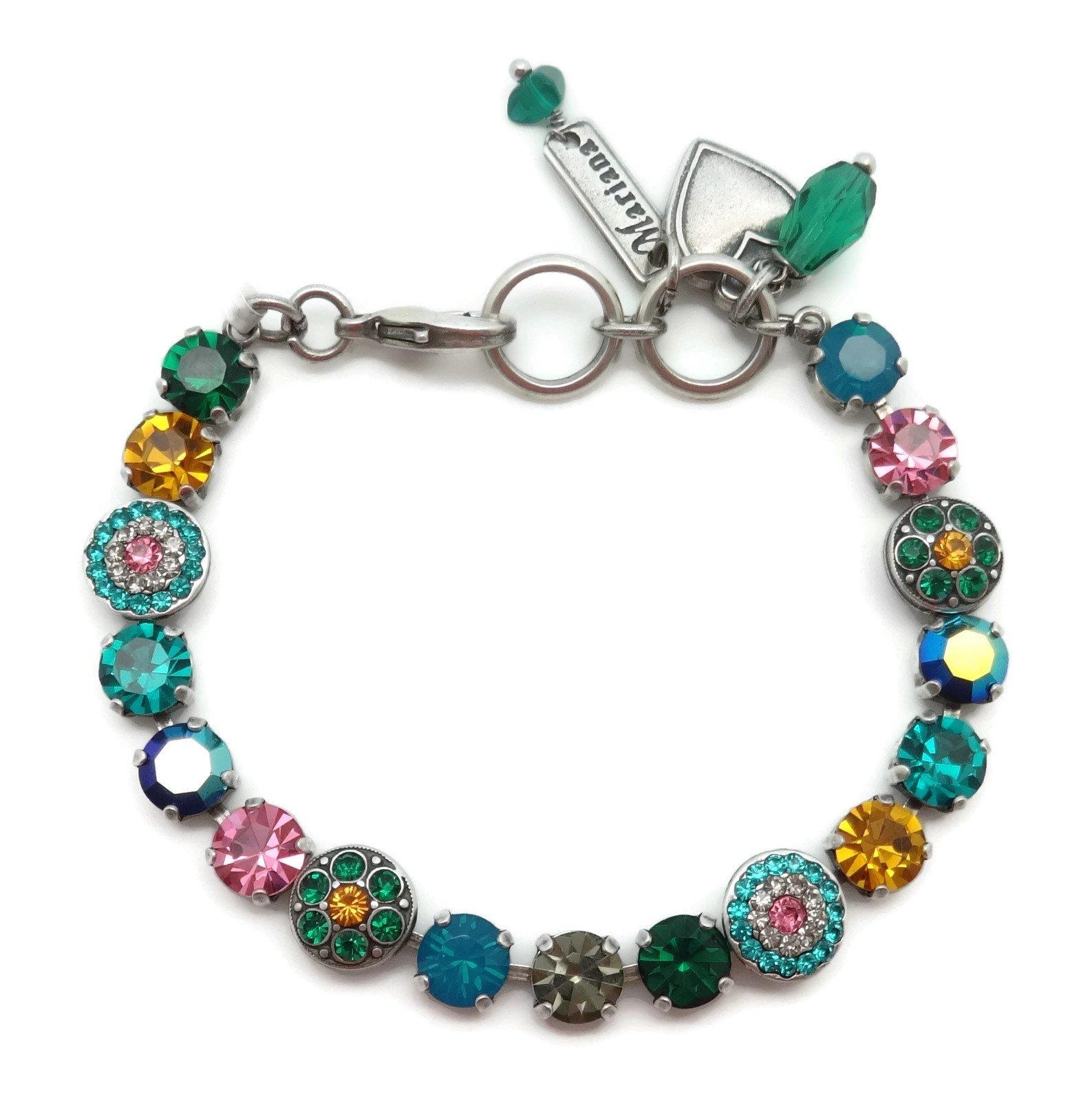 Mariana Silver Plated Swarovski Crystal Bracelet Green & Pink Mix Mosaic 1086 Selene