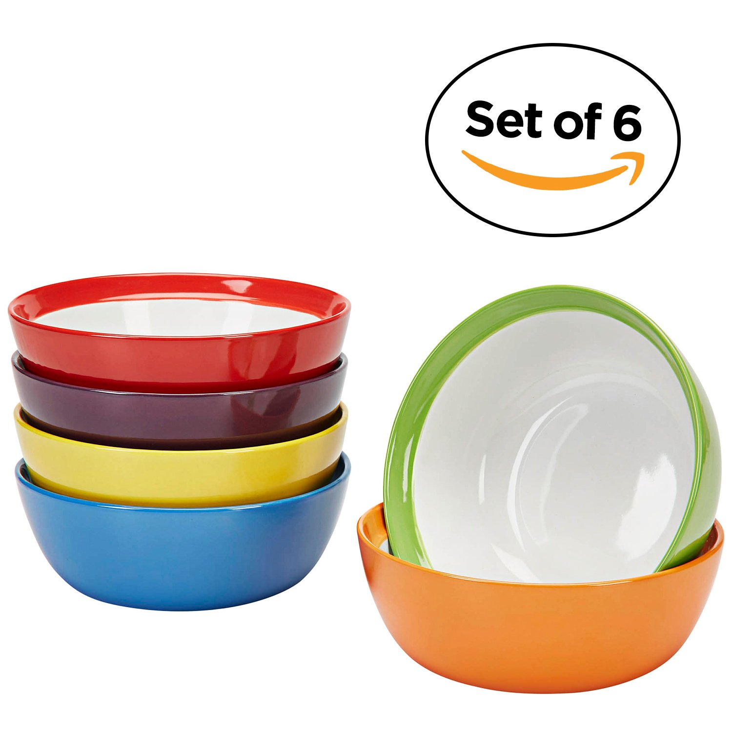 Premium Ceramic Set of 6, Colorful Meal Stoneware (Breakfast Bowls) 06-00036-01