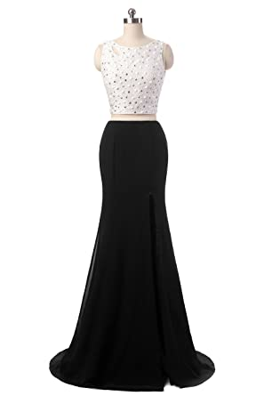 Snow Lotus Womens U Get Sexy Shoulders with Beads Two-piece Dress Prom Dresses