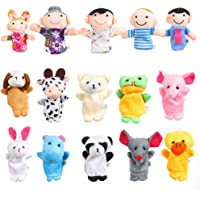 16 Pcs Finger Puppets Set -10 Animals and 6 People Family Members Story Time Velvet Puppets Toys for Toddlers School Playtime Show Gift