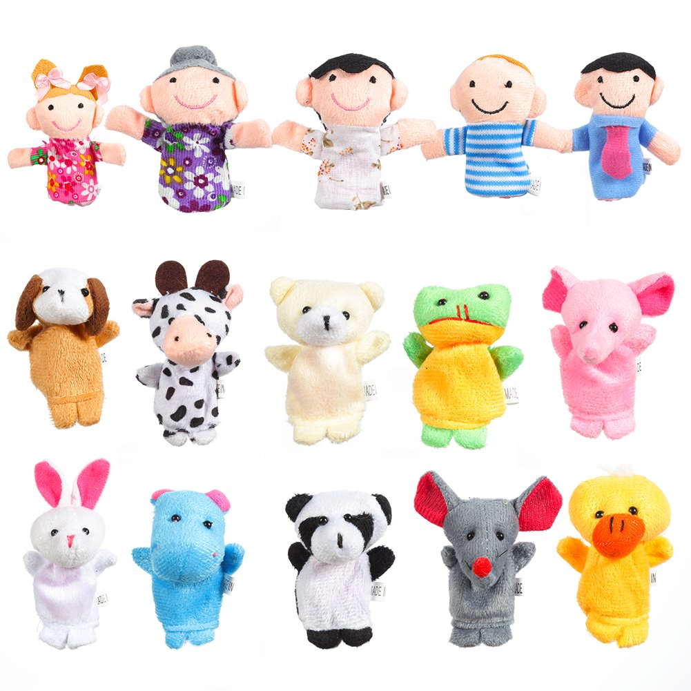 Acekid 16pcs Finger Puppets Animals and Family Members Hand Puppets Baby Story Time Props (16pcs)