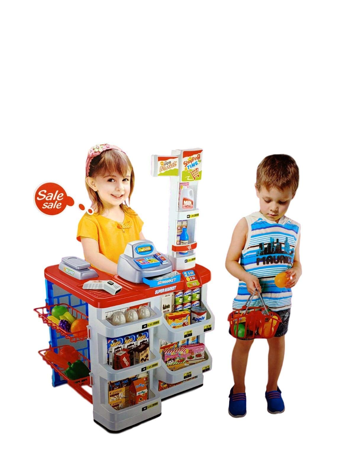 Supermarket Register Stand Food Shopping Grocery, Realistic Pretend Play w/ Lights and Sound