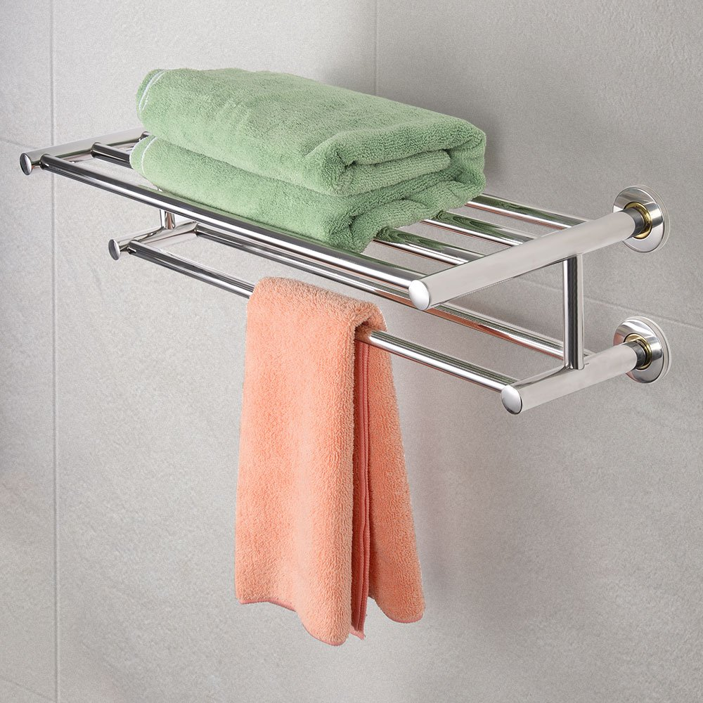 Costway Double Towel Rail Holder Wall Mounted Bathroom Rack Shelf Stainless Steel