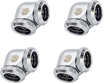 4-Pack Silver Shining 90/° Rotary for Use with Bitspower Rigid Tubing Only Bitspower G1//4 to Enhance Multi-Link Adapter Fitting for 12mm OD Rigid Tubing