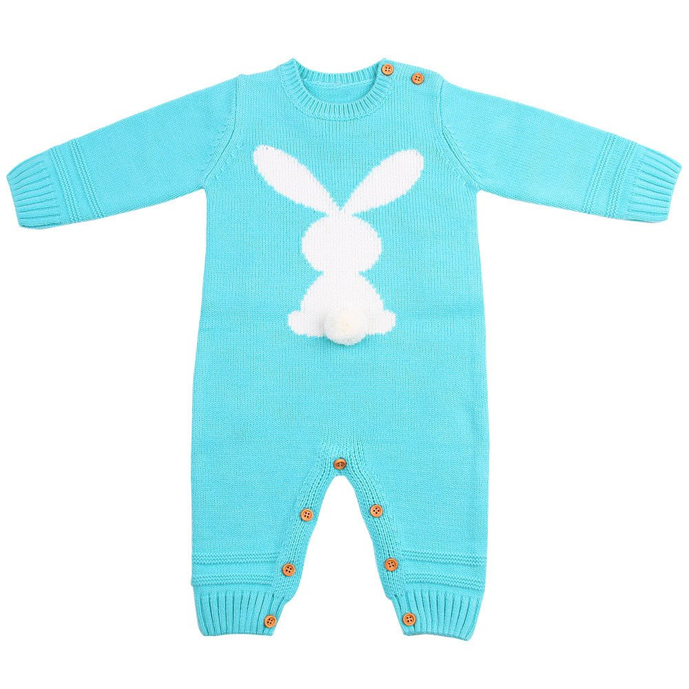 Jchen(TM) Clearance Newborn Infant Baby Boy Girl Weave Cute Rabbit Romper Knitted Jumpsuit Outfits for 0-24 Months