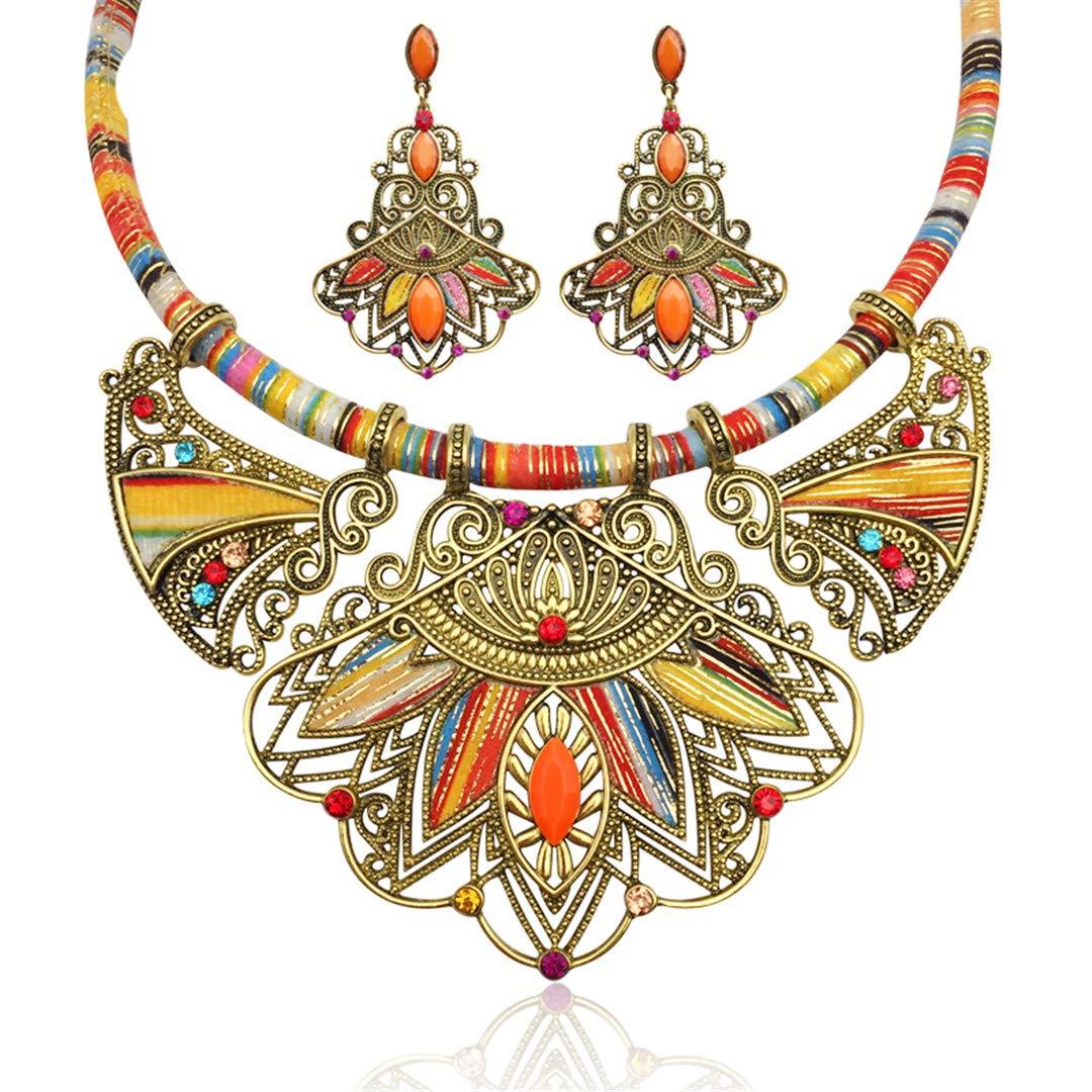 FIANDHJS Necklace/&Pendants for Women Multicolor Statement Choker Necklace Boho Female Big Ethnic Collar Maxi Tribal Jewelry