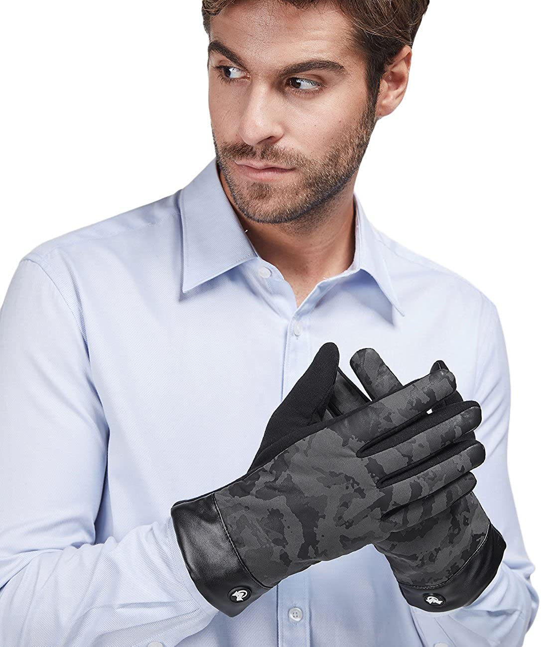 LETHMIK Mens Touchscreen Winter Gloves with Acrylic Knit/&PU Faux Leather Thick Fleece
