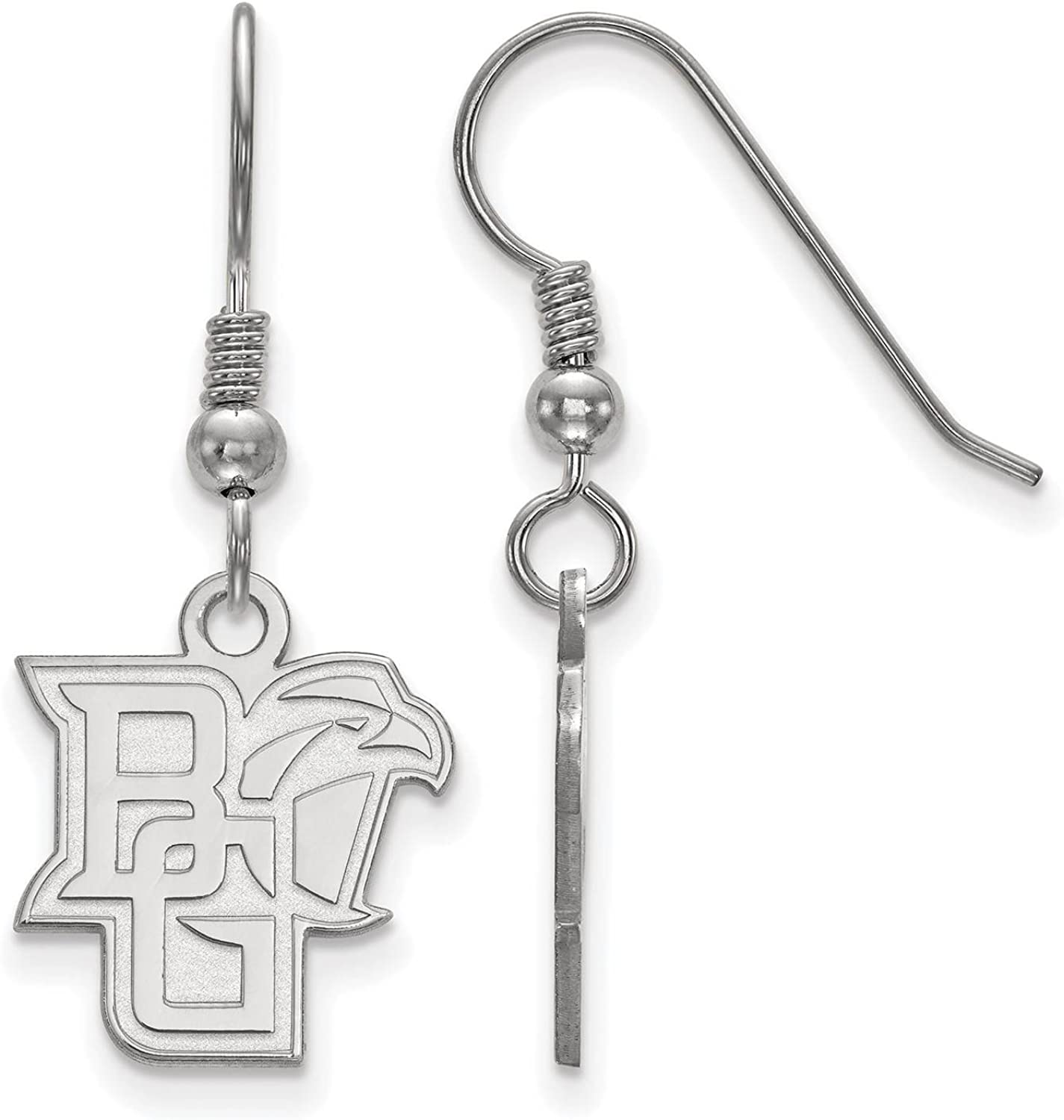 925 Sterling Silver Rhodium-plated Laser-cut Bowling Green State University Small Dangle Earrings