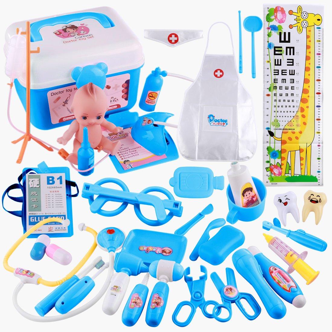Giplar 37 Stück Arztköfferchen Doktor Set Pretend Spielzeug Arztkoffer Kinder