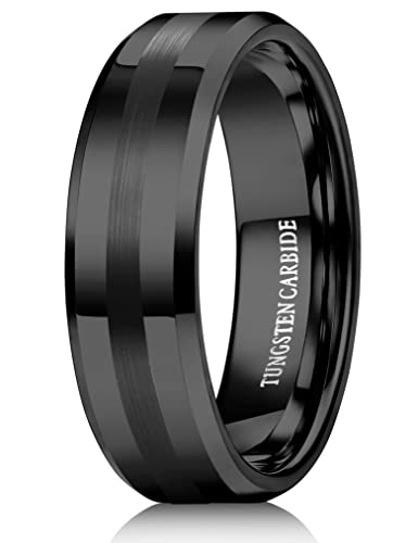 Tungary 8mm Tungsten Rings for Men Women Black Wedding Band