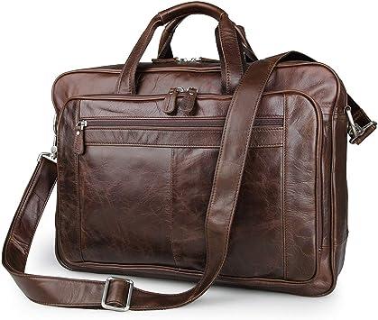 Herren Echt Leather aktentasche braun laptoptasche businesstasche Schultertasche