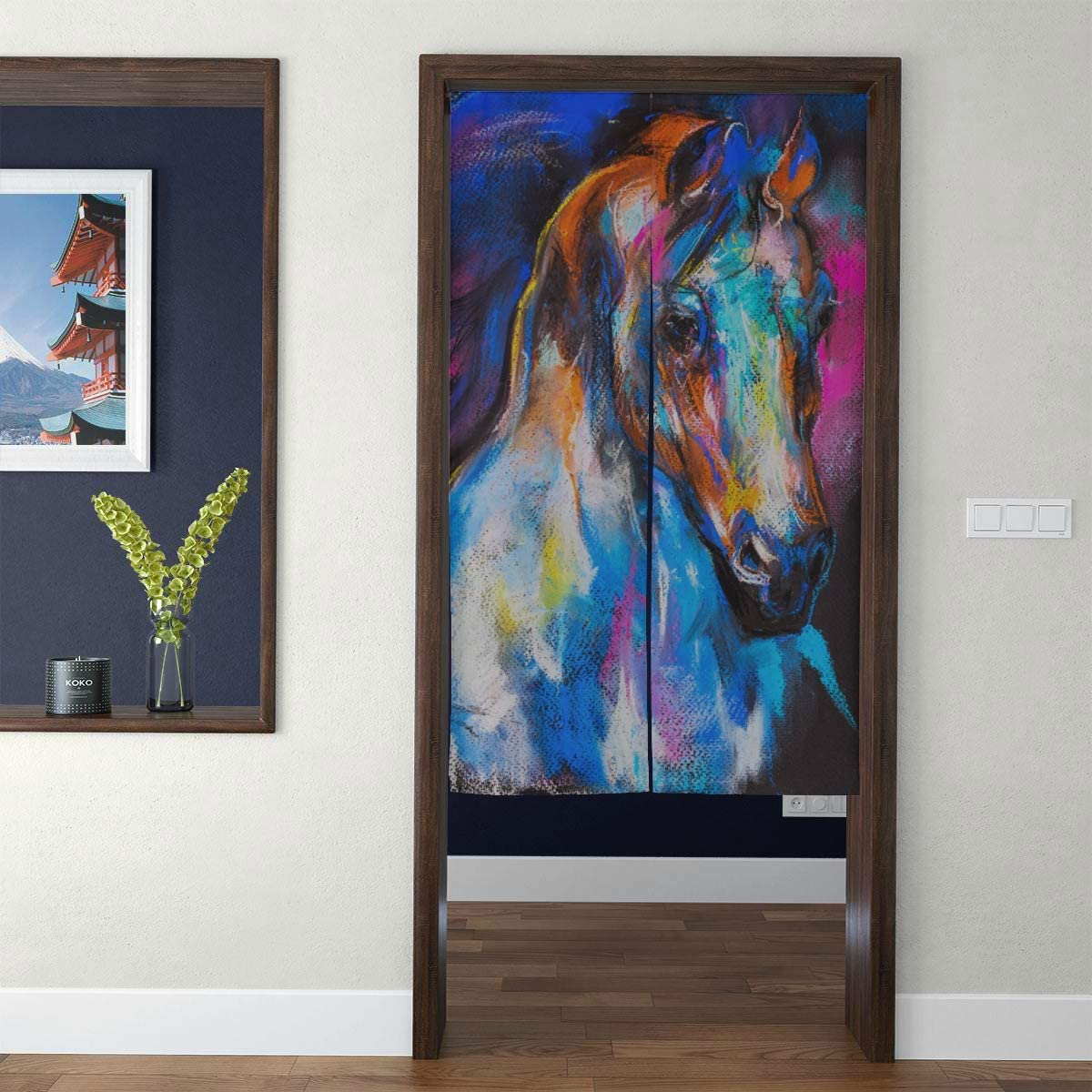 Door Curtain Japanese Noren Curtain Original Pastel Painting Horse On Cardboard 3D Print Doorway Curtain Hallway Bedroom Partition Curtain Door Tapestry with Telescopic Rod for Home Decor Long Style