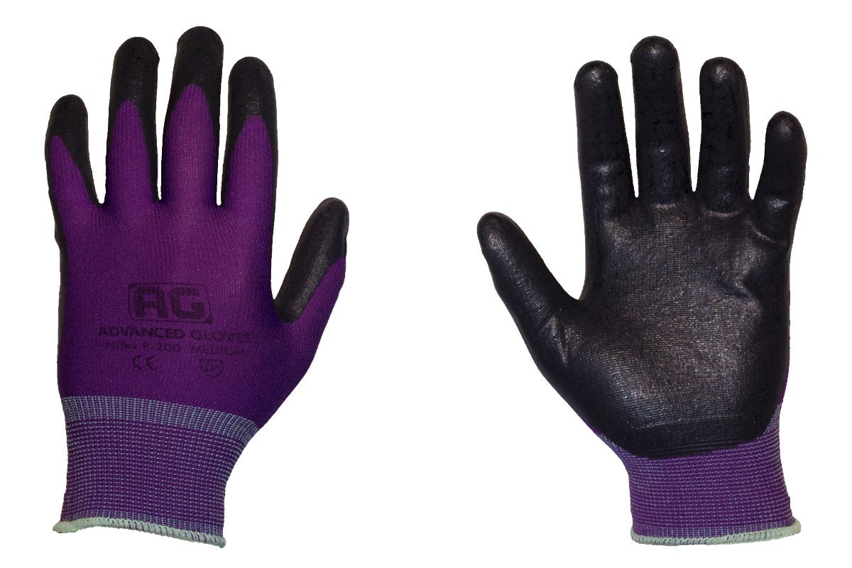 AG NiTex P-200 PP, Nitrile Foam Coated Work Gloves, 12 Pairs, Purple Gloves, Touchscreen Technology (PP-XXL)