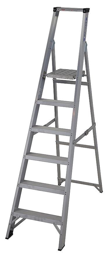 Werner 71506 6 Tread Master Comercio - Escalera con plataforma (Plata: Amazon.es: Bricolaje y herramientas