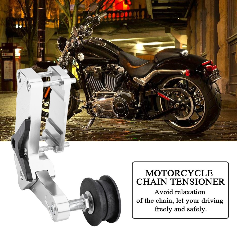 Qiilu Motorcycle Chain Tensioner Link Length Modified Chain Adjuster Roller CNC Aluminium Alloy Universal Tool For Dirt Pit Bike ATV Silver
