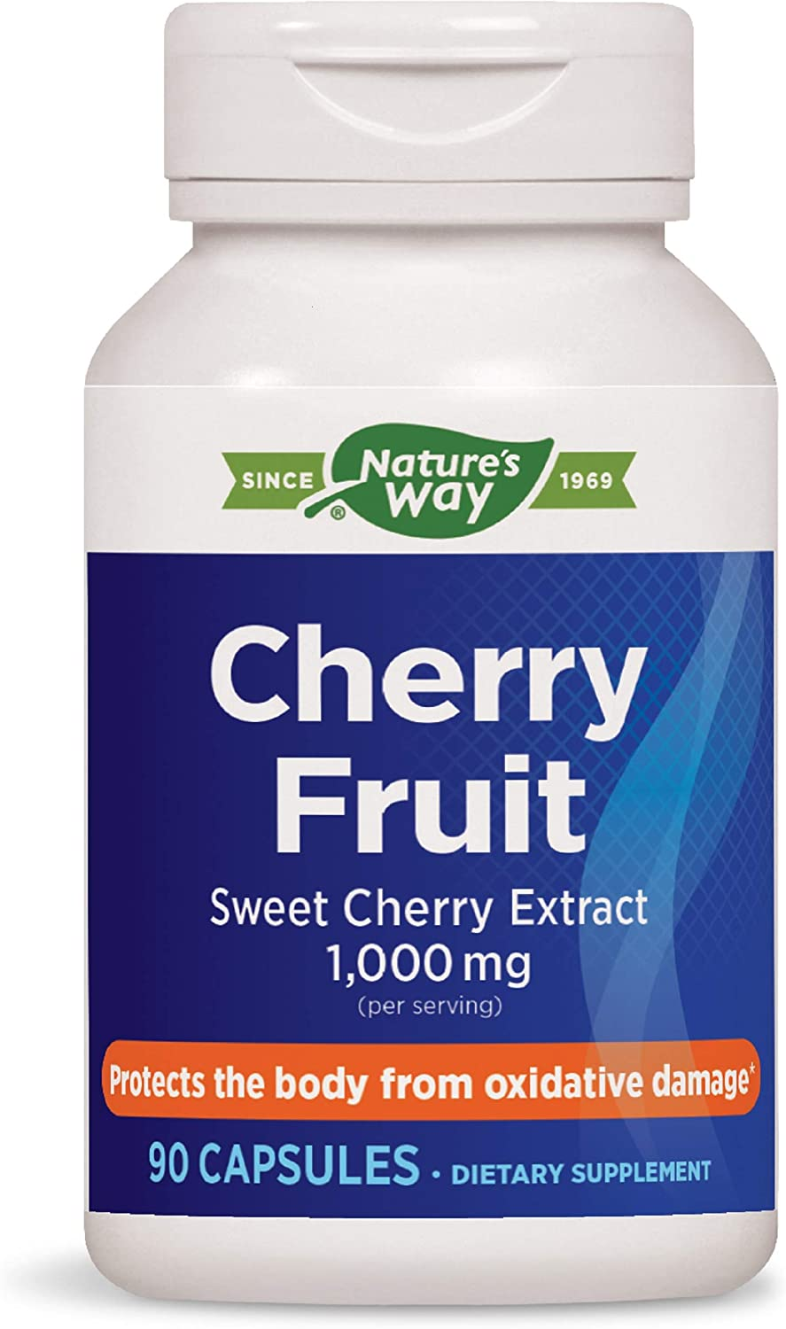 Enzymatic Therapy Nature's Way Cherry Fruit, Sweet Cherry Extract, 1,000 mg per Serving, 90 Capsules (08549)