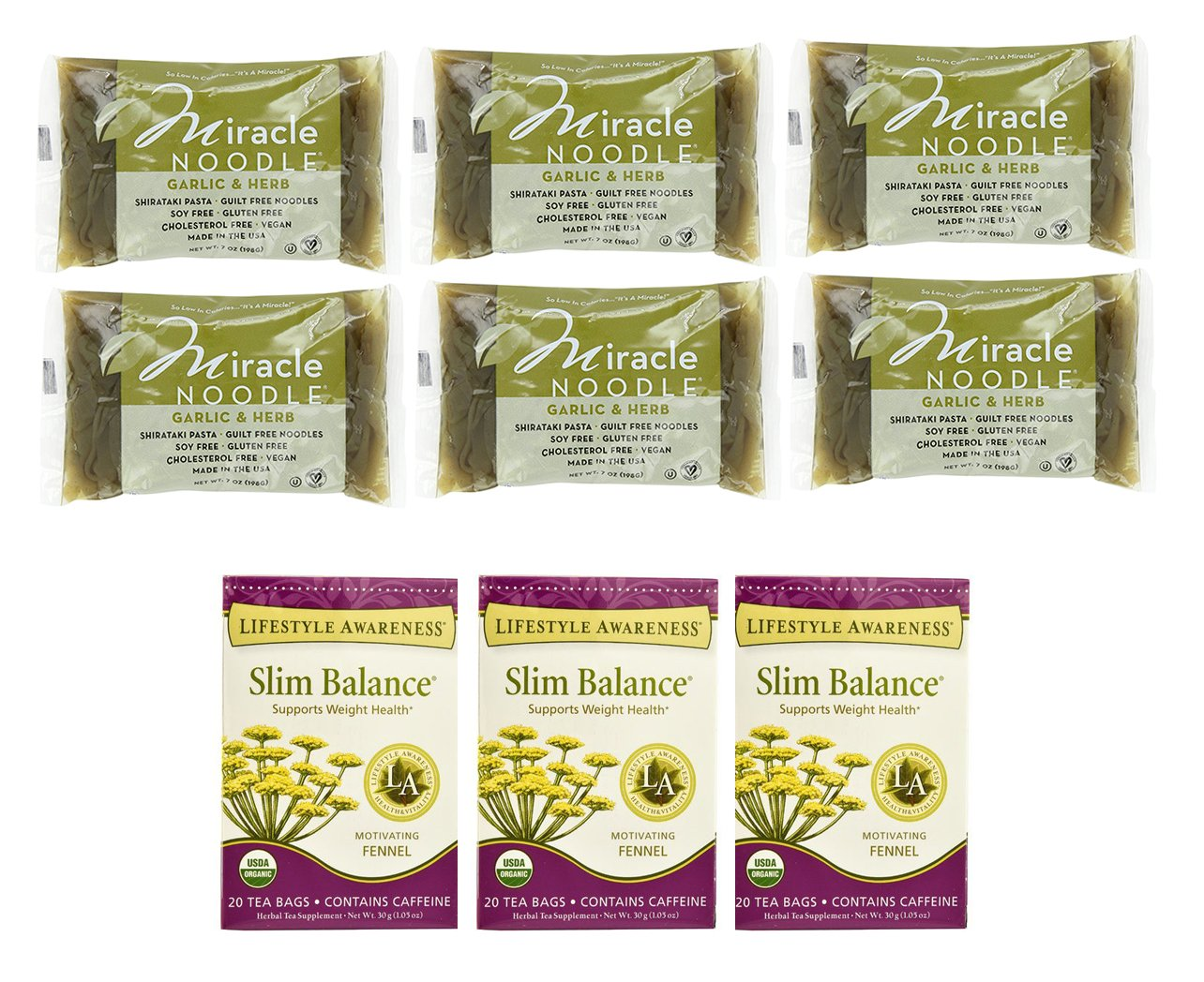 Weight-Loss Package - Miracle Shirataki Noodles + Lifestyle Awareness Slim Balance Tea by Miracle Noodles, Lifestyle Awareness Tea