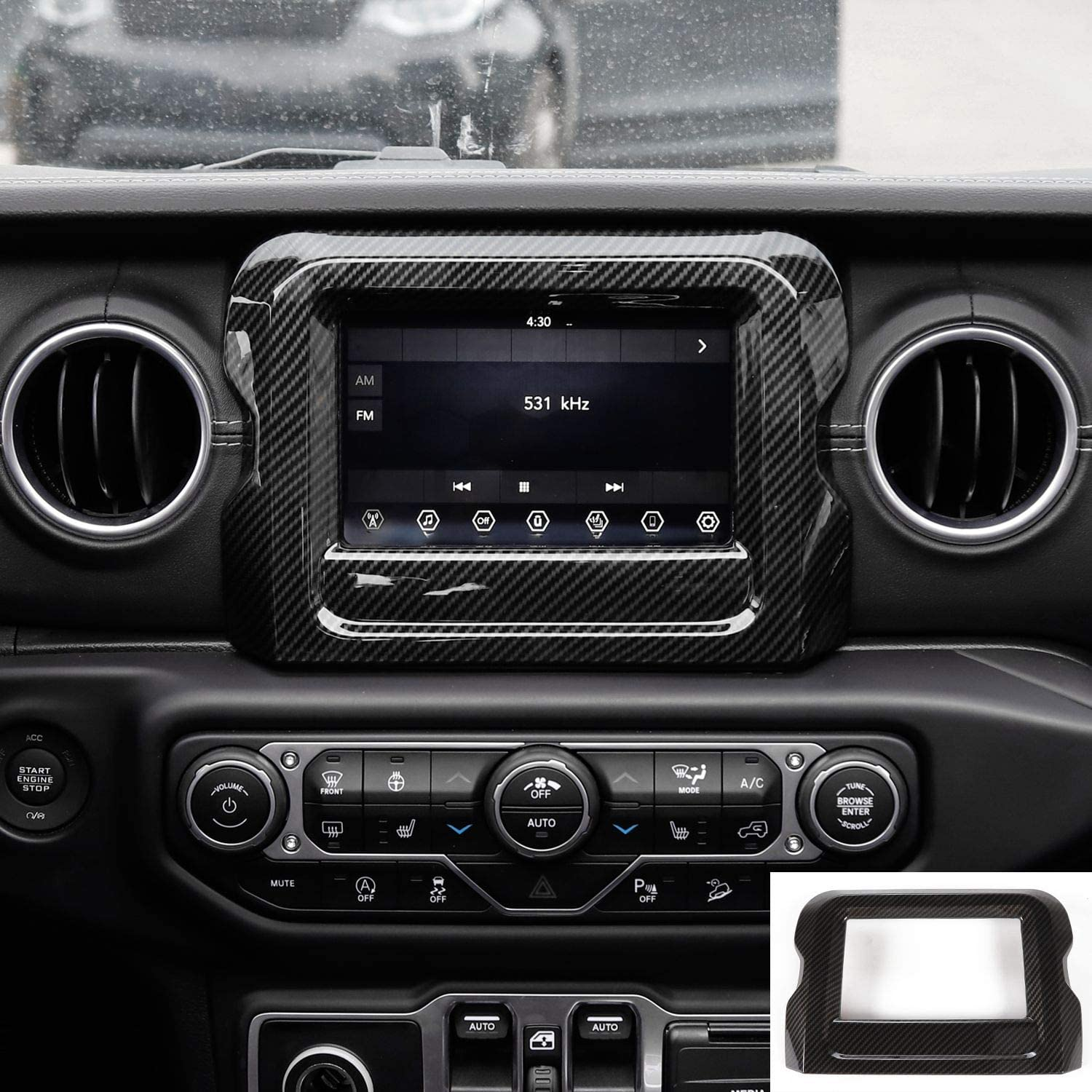 JeCar Interior Accessories 7 GPS Navigation Panel Cover Dashboard Decor for 2018-2020 Jeep Wrangler JL JLU Carbon Fiber