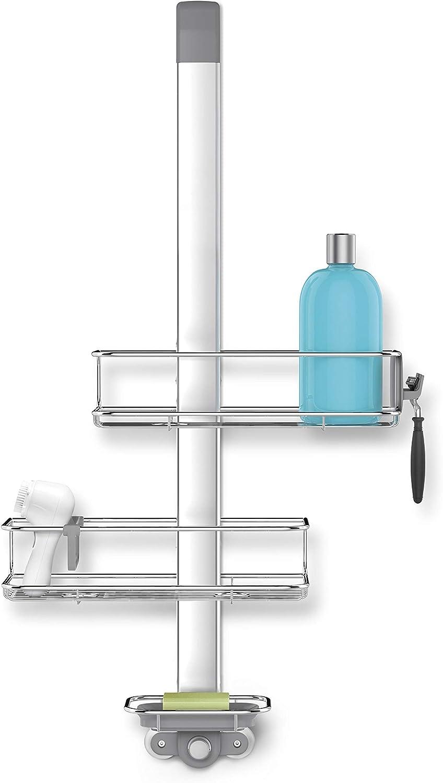 simplehuman BT1101 Over Door Shower Caddy, Matt Stainless Steel + Anodised Aluminium, W 31.5cm x H 81.5cm x D 11.5cm