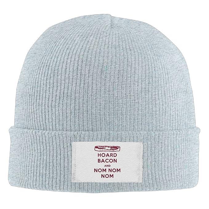 Amazon.com  TQOIAS Keep Calm and Bacon Nom Nom Beanie Hats Cool Wool ... e0235488eb2
