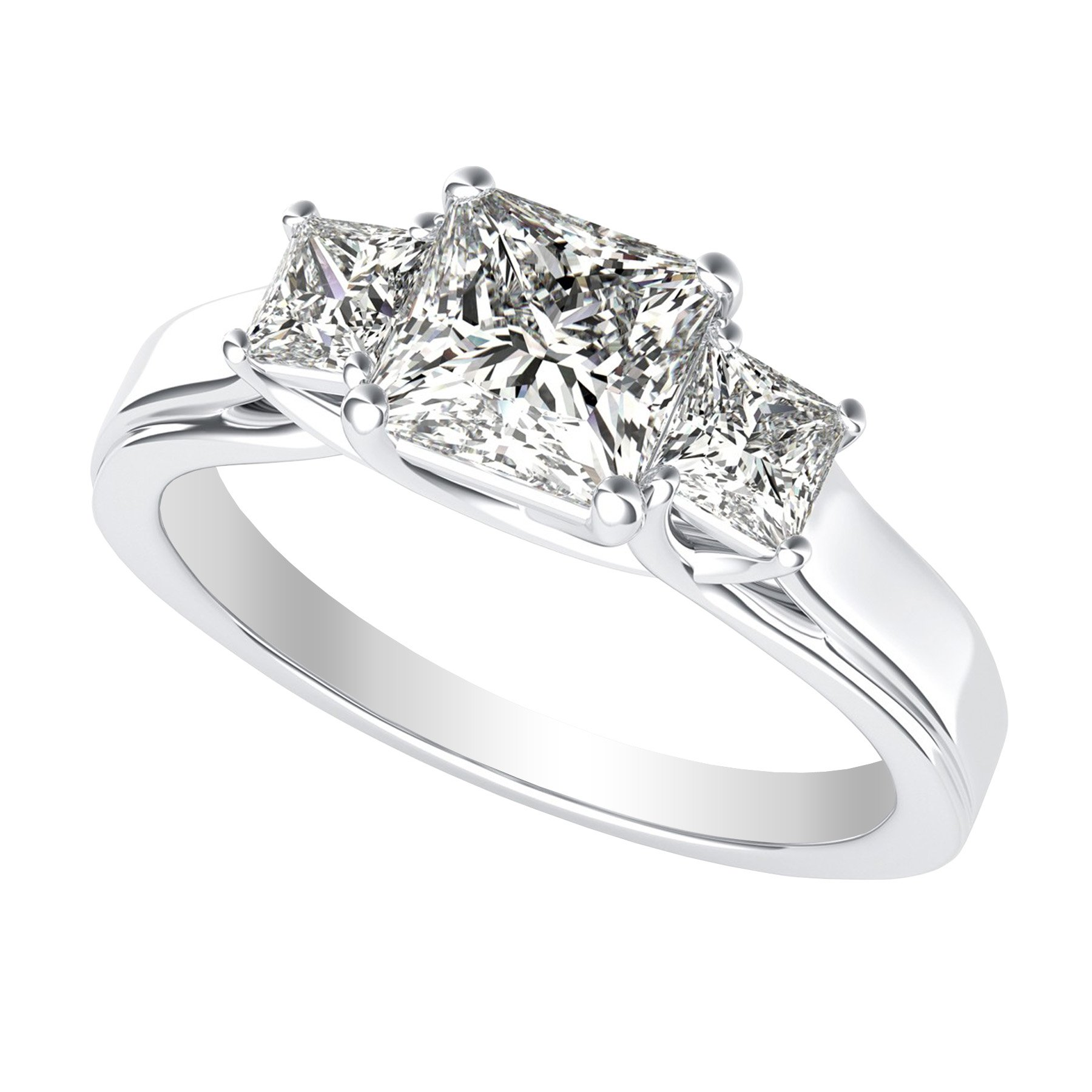 1.7 Carat 14K White Gold Princess Cut 3 Three Stone Diamond Engagement Ring (H-I Color I1-I2 Clarity)