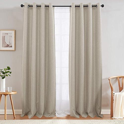 jinchan Linen Texture Curtains Light Reducing Grommet Top Drapes