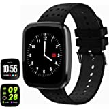 feifuns Smart Bracelet, Activity Fitness Tracker Heart Rate Blood Pressure Monitor Bluetooth Smart Wristband Bracelet, Waterproof Fitness Watch with Replacement Band for Android & IOS