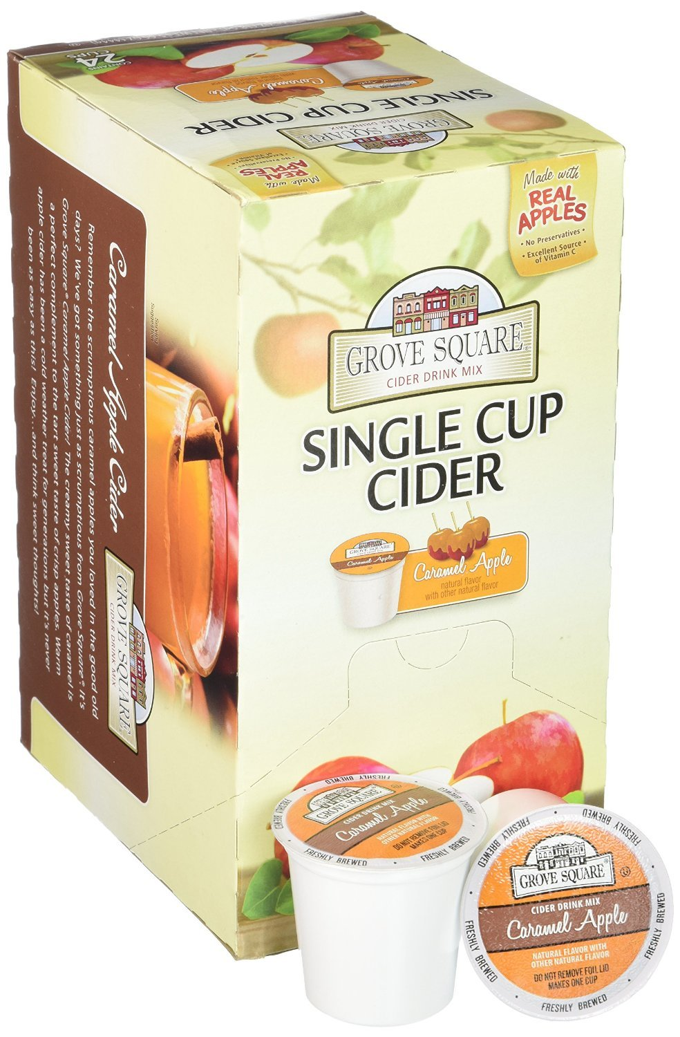 Grove Square Cider Cups, Caramel Apple, Single Serve Cup for Keurig K-Cup Brewers, 24-Count (Pack of 2)
