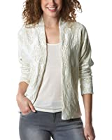 Promod Damen-Jacke in Glanz-Optik Ecru bedruckt 36/38