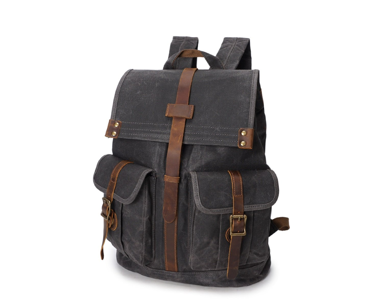Color : Chrome, Size : M Shengjuanfeng Mens Shoulder Bag Oil Wax Canvas Outdoor Sports Travel Bag Waterproof Travel Backpack