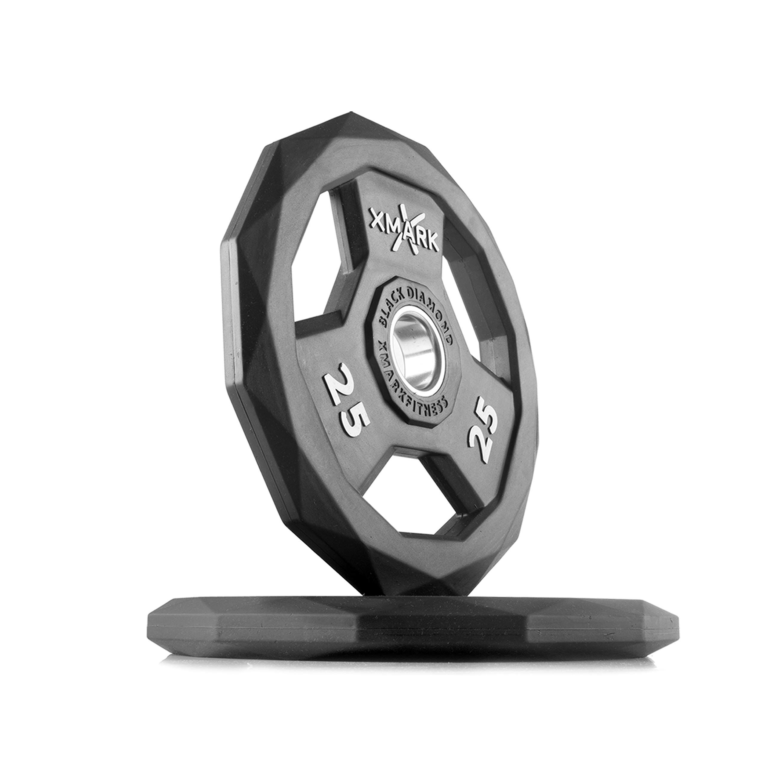 XMark Black Diamond 25 lb Pair Olympic Weight Plates, One-Year Warranty, Patented Design