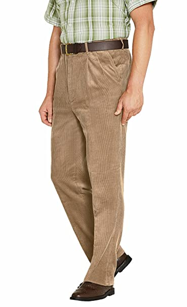 Mens Luxury Cotton High Rise Corduroy Adjustable Pleated Trouser