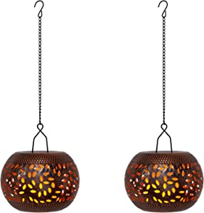 Keygift Hanging Lanterns Decorative Metal Candle Lanterns for Home Decoration White Indoor and Outdoor Lanterns with LED Flickering Candle Light and Timer 2 Pack