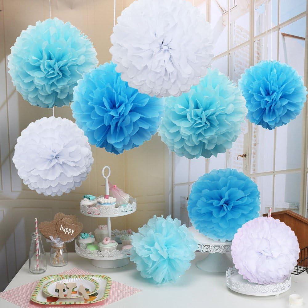 Pompon in carta velina Sunswei 18PCS 25,4/cm 35,6/cm 30,5/cm tessuto fiore palla per matrimonio festa di compleanno e Baby shower decorazione Premium carta velina pom pom fiori Craft kit Blue-White
