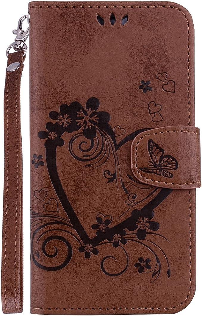 Uposao Compatibile con Samsung Galaxy A6 2018 Custodia Premium Libro Amare 3D Farfalla Flip Caso Custodia in Pelle PU Portafoglio con Interno TPU Protettiva Cover,Bianco