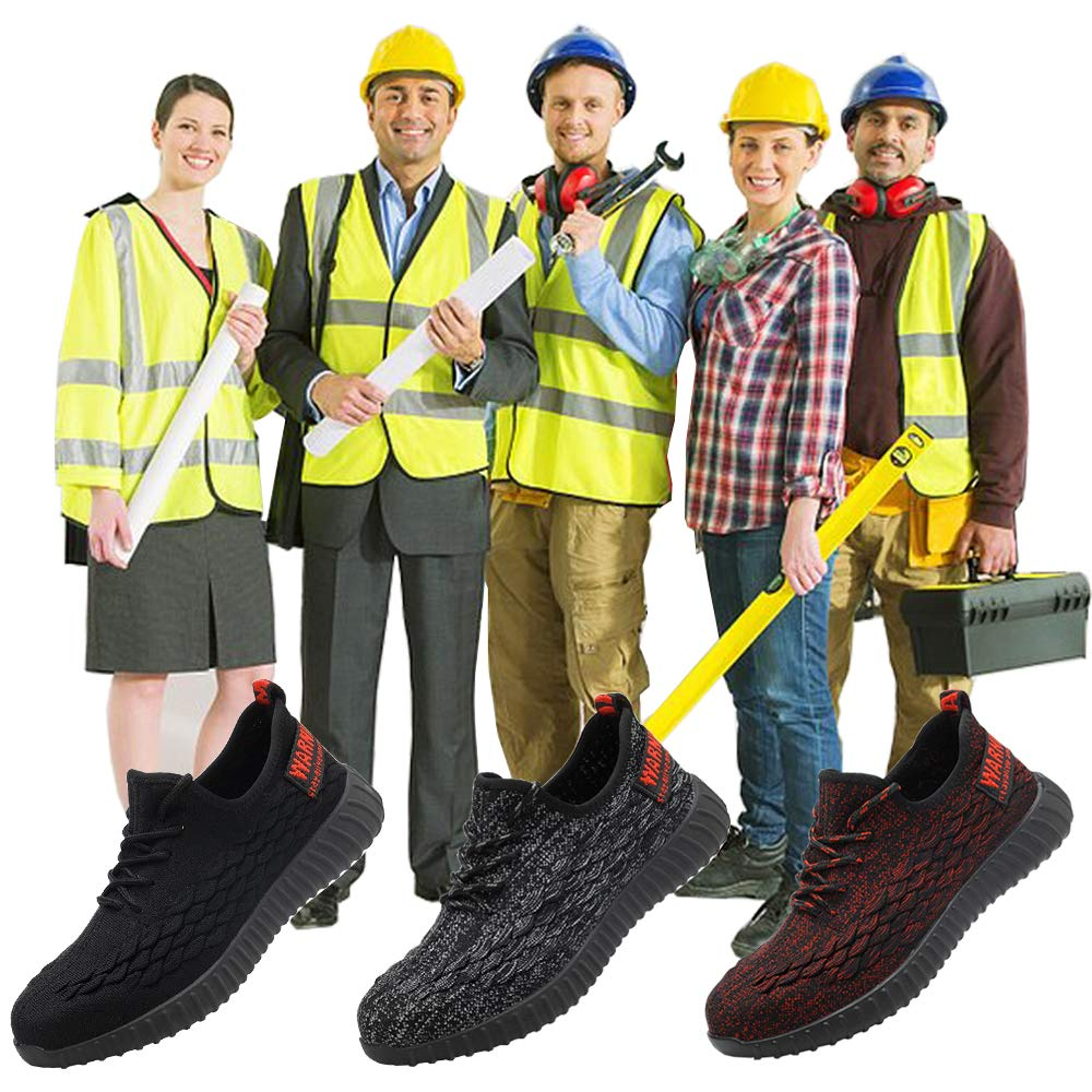 Getch Work Shoes Men Women Steel Toe Shoes Work Safety Shoes Lightweight Breathable Industrial Construction Outdoor Puncture Proof Shoes Red 37