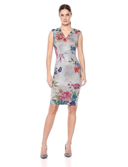 Calvin Klein Women's Sleeveless Printed Sheath with V Neckline Dress, Peach Multi, 6