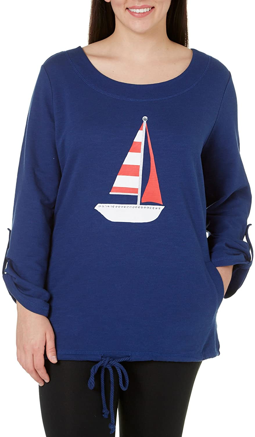 SunBay Plus Sailboat Bling Pullover Top