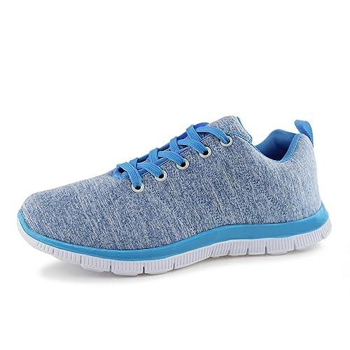 Scarpe da ginnastica casual da donna, senza allacciatura, leggere, per lo sport, blu