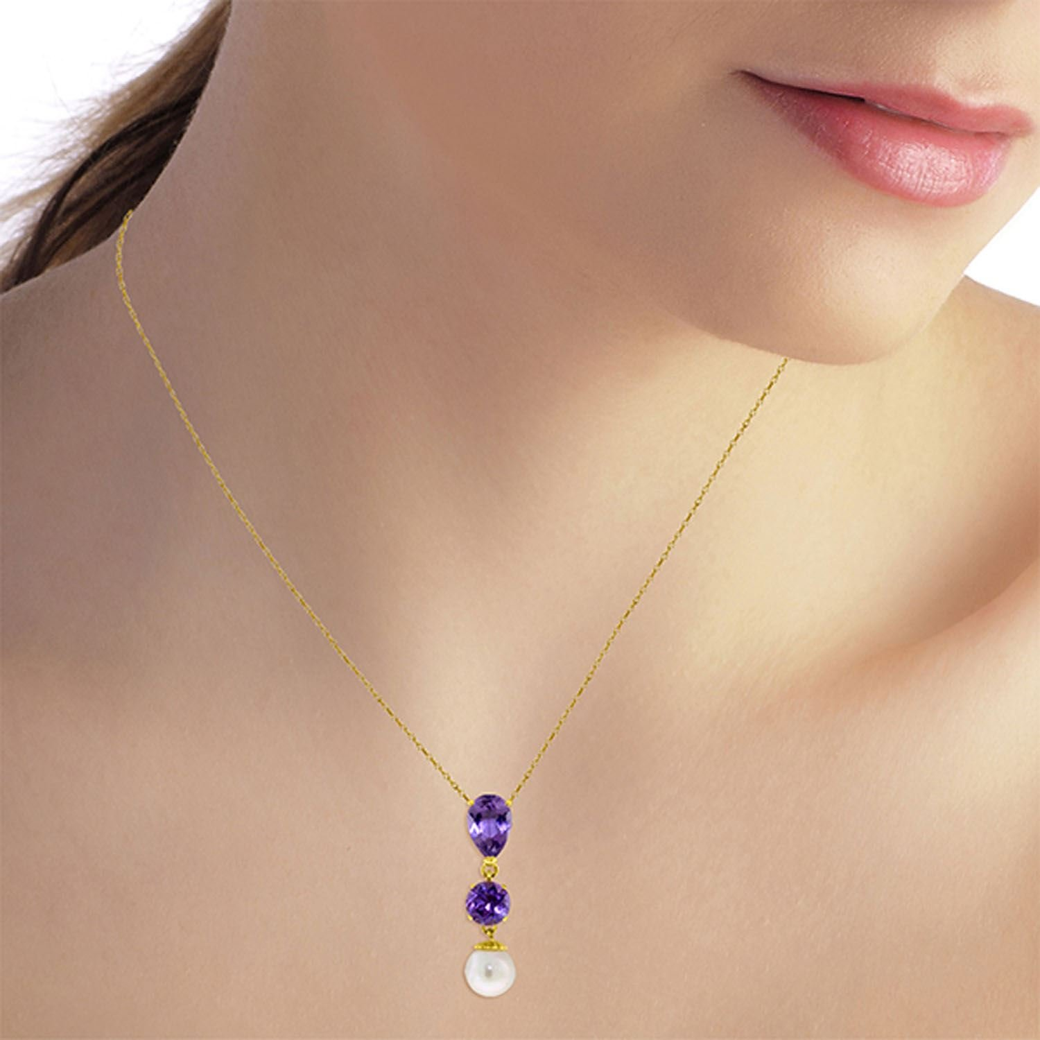ALARRI 5.25 Carat 14K Solid Gold Necklace Purple Amethyst Pearl with 22 Inch Chain Length