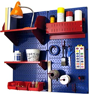 product image for Wall Control Pegboard Hobby Craft Pegboard Organizer Storage Kit with Blue Pegboard and Red Accessories