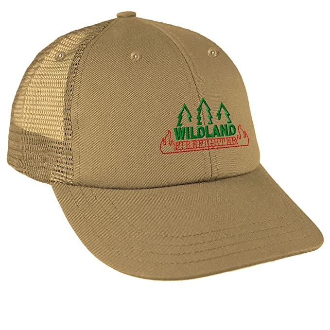 cf2091aa4d75e8 Image Unavailable. Image not available for. Color: Wildland Firefighter  Embroidery Design Low Crown Mesh Golf Snapback Hat Khaki