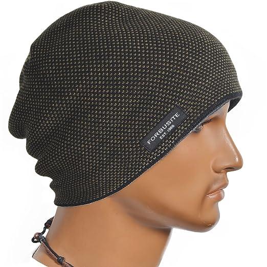 f5fcf8f4fbd065 Cool Men Roll Knit Beanie Rectangular Winter Skullcap Top Hat B816  (B5032-Brown)