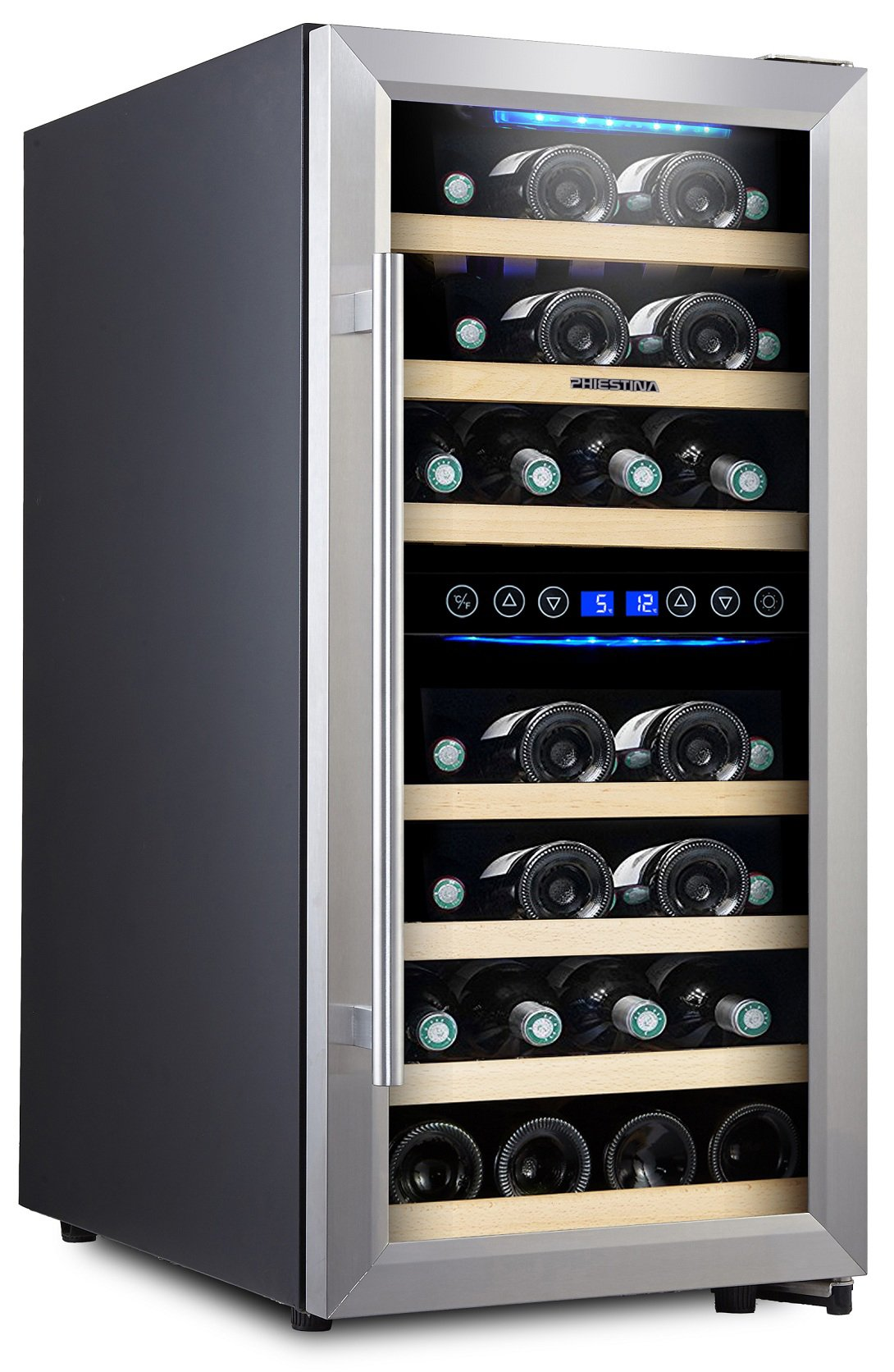Phiestina 33 Bottle Wine Cooler Double Zone Steel Door with Handle by phiestina (Image #1)