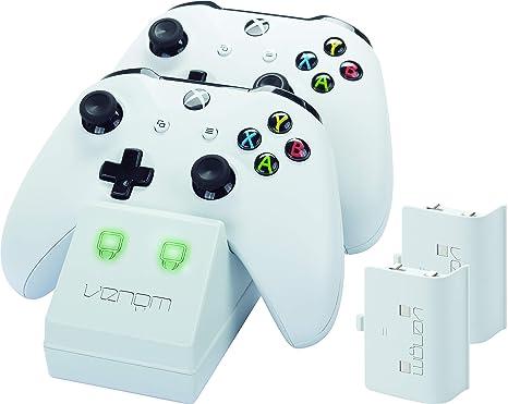 Venom Twin Docking Station inkl. 2 Zusatzakkus für Xbox One & One S - weiß - Perfekt für die weiße Xbox One S & Xbox One Kons