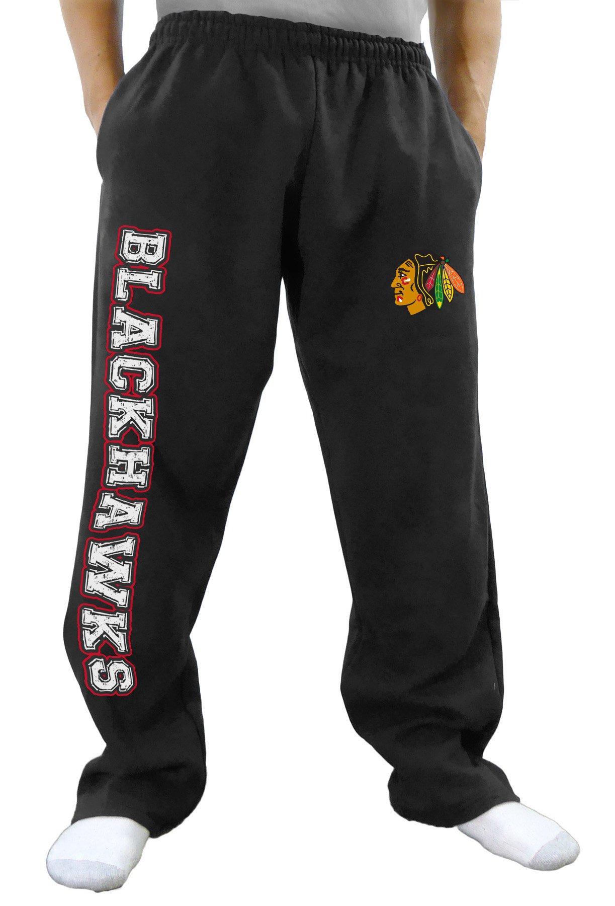 NHL Men's Premium Fleece Official Team Sweatpants (Chicago Blackhawks, Small)